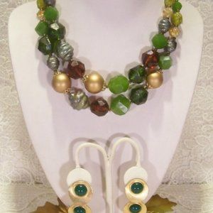 R-1195 Forest Chunky 2-Strand Bead Necklace ERs